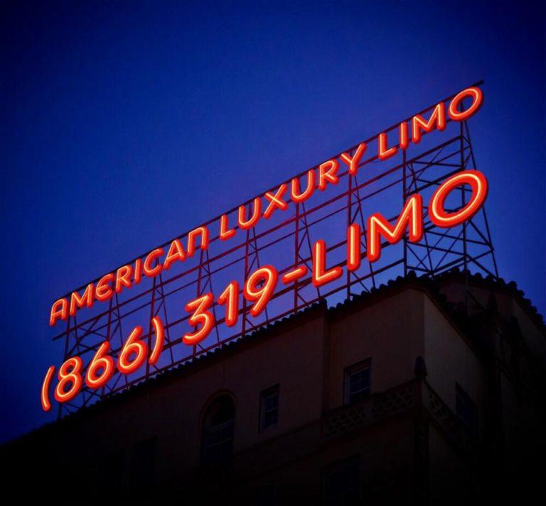 American Luxury Limousine neon billboard sign
